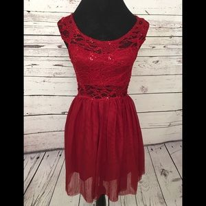 Dark Red Sequined Dress